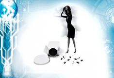 3d woman with drug illustration Royalty Free Stock Image