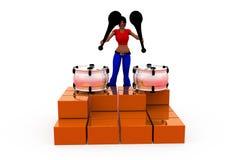 3d woman drum concept Stock Image