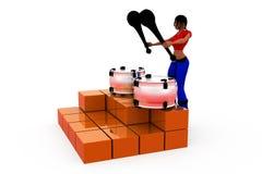 3d woman drum concept Stock Photo