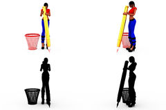 3d woman dustbib concept Collections With Alpha And Shadow Channel Stock Image