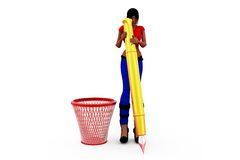 3d woman dustbib concept Stock Photo