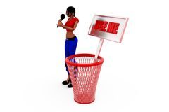 3d woman dustbib concept Royalty Free Stock Images