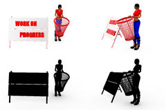3d woman dustbin concept Collections With Alpha And Shadow Channel Royalty Free Stock Photos