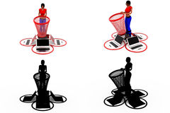 3d woman dustbin concept Collections With Alpha And Shadow Channel Stock Images