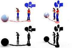 3d woman earth chain conept Collections With Alpha And Shadow Channel Royalty Free Stock Photos