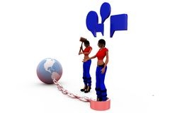 3d woman earth chain conept Stock Images