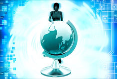 3d woman with earth model illustration Royalty Free Stock Photos
