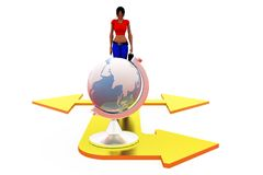 3d woman earth path concept Royalty Free Stock Photo
