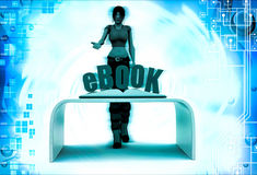 3d woman with ebook and book illustration Royalty Free Stock Photography