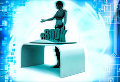 3d woman with ebook and book illustration Royalty Free Stock Image