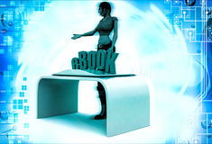 3d woman with ebook and book illustration Royalty Free Stock Photo