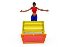 3d woman empty box concept Royalty Free Stock Photos