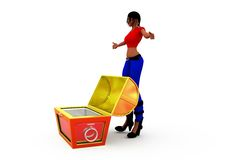 3d woman empty box concept Stock Image