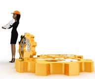 3d woman engineer with hammer in hand and service mechanical gears concept Royalty Free Stock Photo