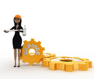 3d woman engineer with hammer in hand and service mechanical gears concept Royalty Free Stock Photography