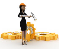 3d woman engineer with hammer in hand and service mechanical gears concept Stock Photography