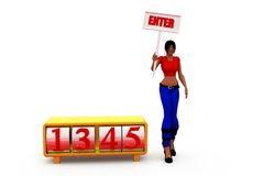 3d woman enter number concept Stock Images