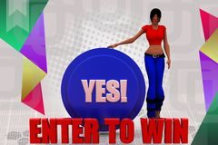 3d woman enter to win illustration Stock Photography