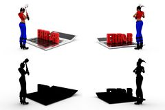 3d woman error Concept Collections With Alpha And Shadow Channel Royalty Free Stock Photo