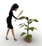 3d woman examine plant of tree concept Stock Photo