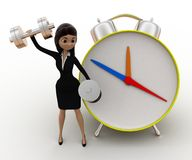 3d woman exercise time with clock and dumbell concept Stock Photo