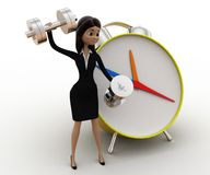 3d woman exercise time with clock and dumbell concept Royalty Free Stock Photos