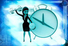 3d woman exercise time with clock and dumbell illustration Royalty Free Stock Photo