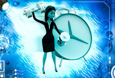 3d woman exercise time with clock and dumbell illustration Royalty Free Stock Photography
