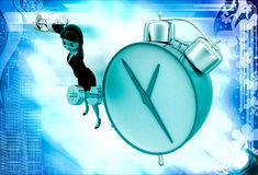3d woman exercise time with clock and dumbell illustration Stock Images