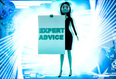 3d woman with expert advice paper in hand illustration Royalty Free Stock Photo