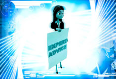 3d woman with expert advice paper in hand illustration Stock Photos