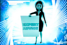 3d woman with expert advice paper in hand illustration Stock Image