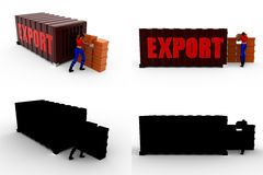 3d woman export Concept Collections With Alpha And Shadow Channel Royalty Free Stock Photography