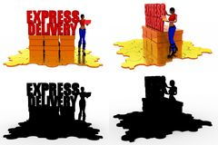 3d woman express delivery concept collections with alpha and shadow channel Royalty Free Stock Photography