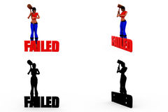 3d woman failed concept Collections With Alpha And Shadow Channel Royalty Free Stock Images