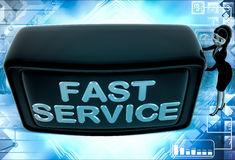 3d woman with fast service screen illustration Stock Images