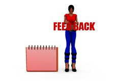 3d woman feedback note concept Stock Images