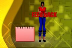 3d woman feedback note illustration Stock Photo