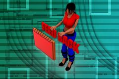 3d woman feedback note illustration Royalty Free Stock Photo