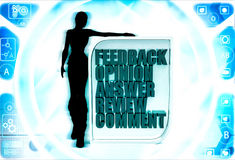3d woman with feedback opinion board illustration Royalty Free Stock Images