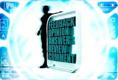 3d woman with feedback opinion board illustration Stock Images