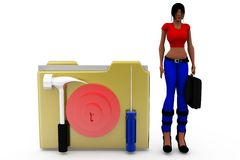 3d woman file lock concept Stock Photography