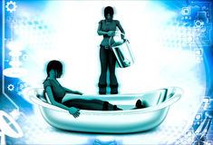 3d woman filling bath tube with water illustration Royalty Free Stock Photos