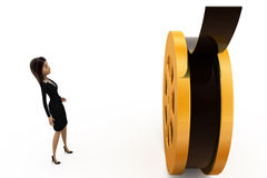 3d woman with film roll concept Stock Photos
