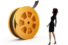 3d woman with film roll concept Stock Photo