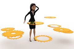 3d woman find right  cogwheel from many cogwheel concept Royalty Free Stock Photos
