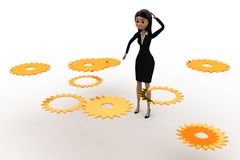 3d woman find right  cogwheel from many cogwheel concept Stock Photos