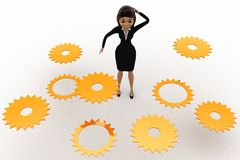 3d woman find right  cogwheel from many cogwheel concept Stock Photo