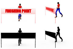 3d woman finish point concept Collections With Alpha And Shadow Channel Stock Photography