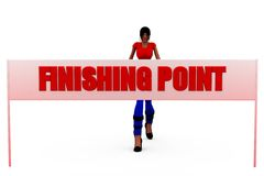 3d woman finish point concept Royalty Free Stock Photo